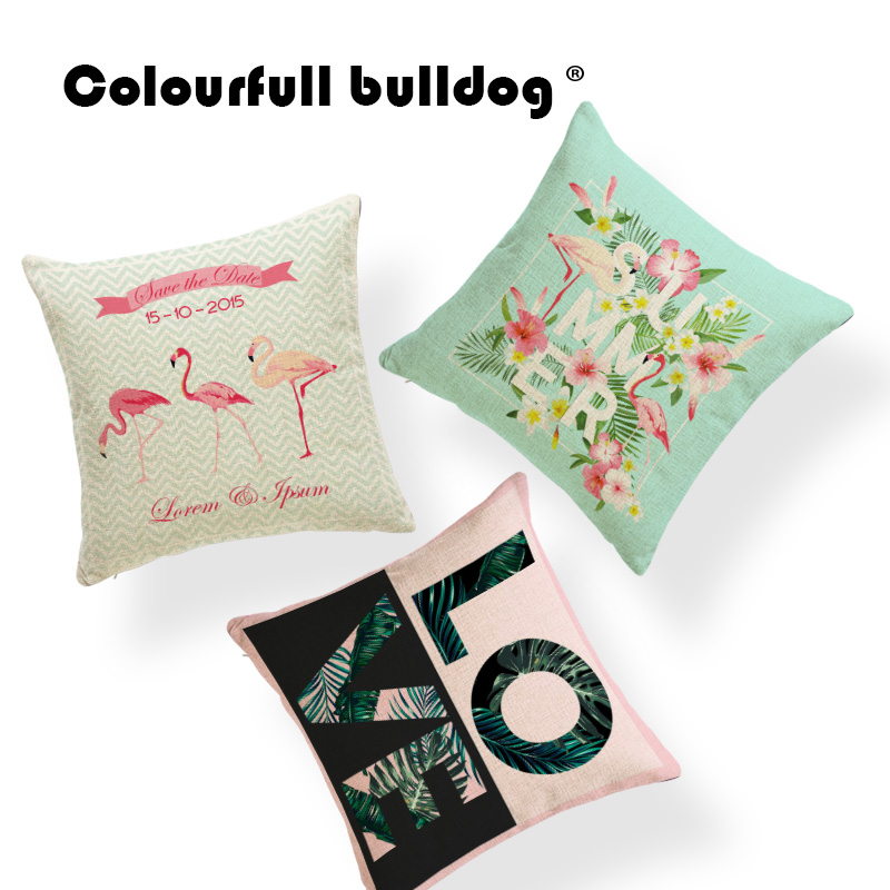 Animal Cushion Cover Plant Pillow Covers Flamingo Farmhouse Decorator Flower Monstera Throw Pillow Leaves 45x45Cm Linen Cheap