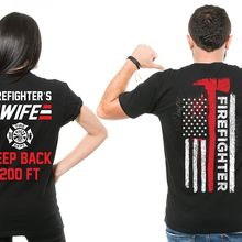 95c27598b 2019 Fashion Hot sale 100% cotton Firefighter Couple T Shirts Husband And  Wife Cool Matching