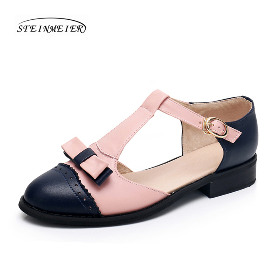 Women sandals oxford shoes vintage genuine leather flats bow gladiator oxfords summer platform sandals for women