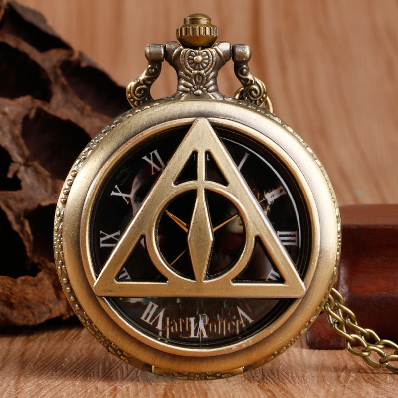 Fashion Quartz Pocket Watch Bronze Vintage Triangle The Deathly Hallows Fob Watches Men Women Children Birthday Gift