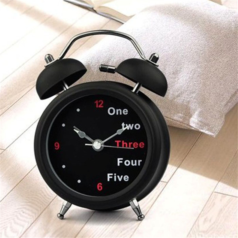 Classic Black Number/English Retro Double Bell Table Clocks Durable Metal Needle Desktop Kids Alarm Clock Wholesale 30JY20