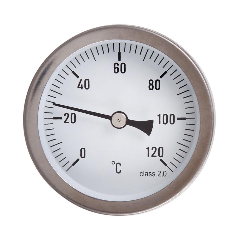 63mm Horizontal Dial Thermometer Temperature Gauge Aluminum Case 0-120 Degree Centigrade Aluminum+Brass Temperature Instruments
