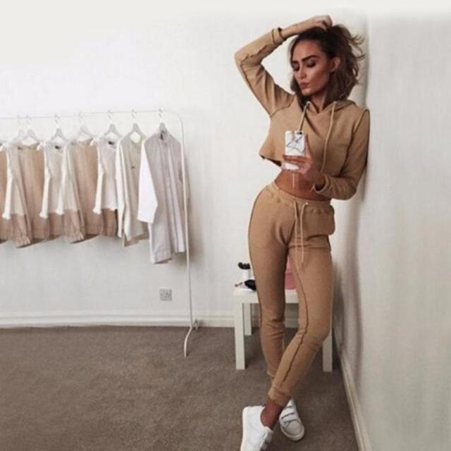 2016 New Autumn Tracksuit Women Hoodies 2-Piece Set Khaki/Black (Hooded Sweatshirt+Long Pants) Leisure Suits