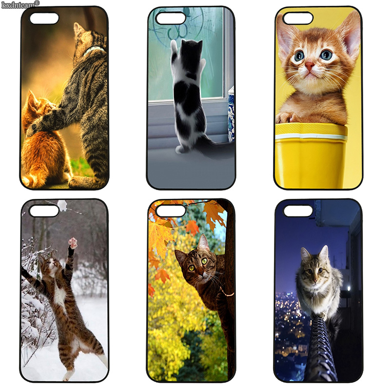 Cat Pets Face Lovely Fashion Cell Phone Case Hard Cover Fitted for iphone 8 7 6 6S Plus X 5S 5C 5 SE 4 4S iPod Touch 4 5 6 Shell