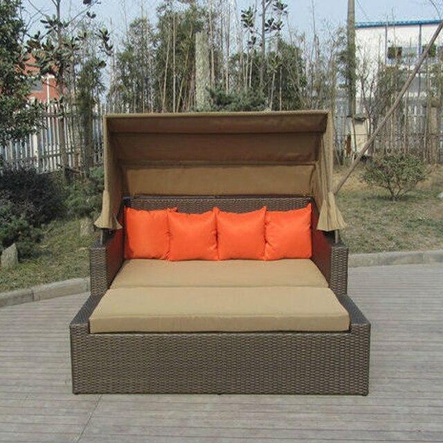 Resina cuadrada salón cama de mimbre, balcón/jardín caña daybed ...
