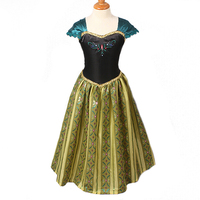 3 10Yrs Girls Lace Party Dresses Children Anna Elsa Princess Party Costume Baby Girls Birthday Party