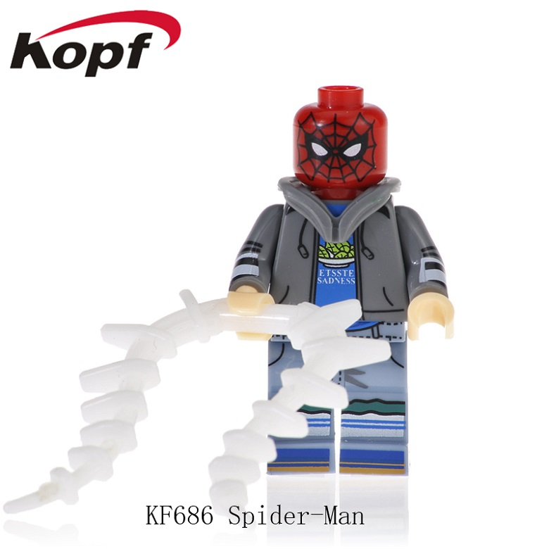 KF686 Building Blocks Spiderman-Black Jacket Anti-Venom Toy Captain Avengers Deadpool American Carnage Model For Children Toys image