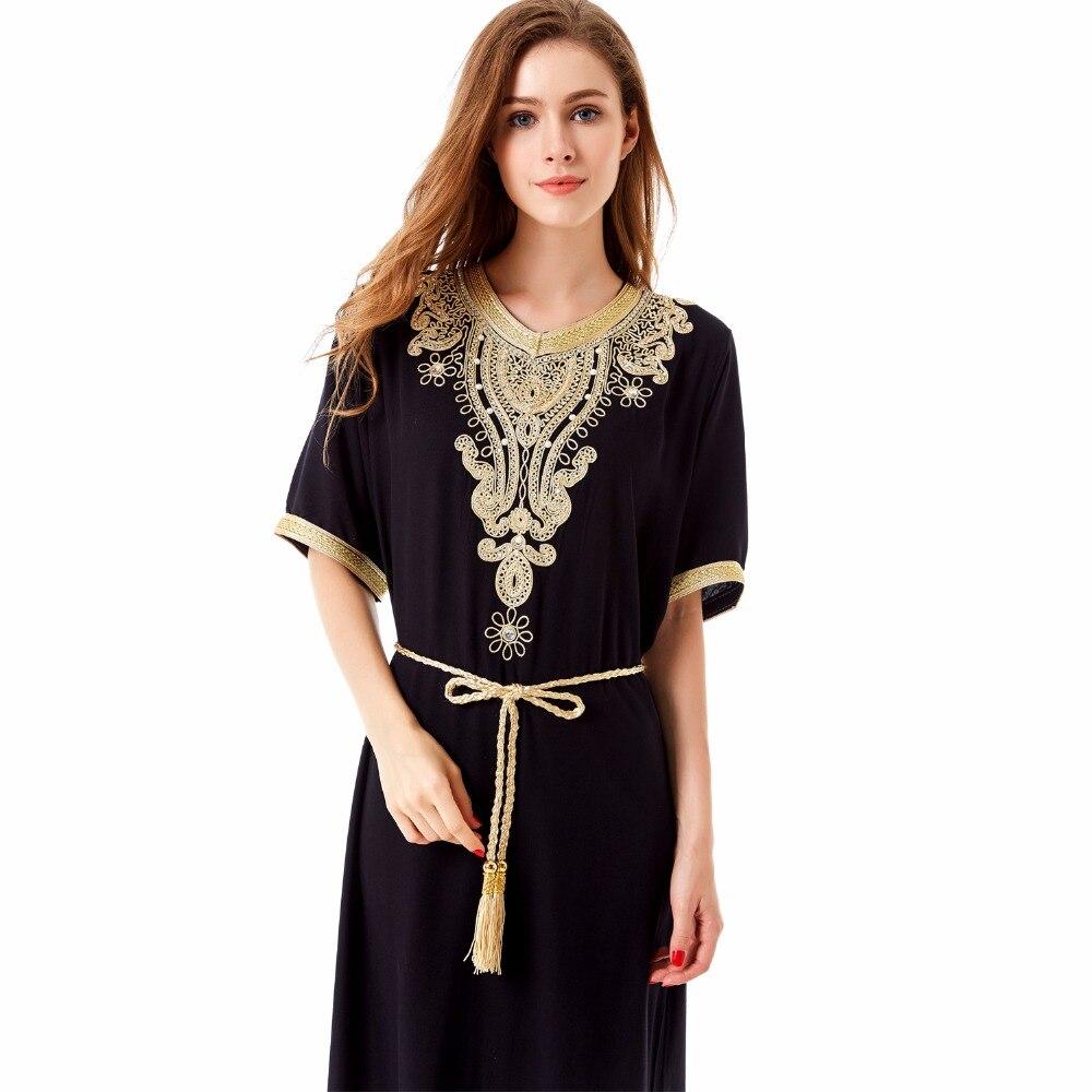 мусульманские женщины с длинным рукавом макси платье дубай абая исламской женские винтажные платье одежда халат кафтан марокканской моды embroidey1605