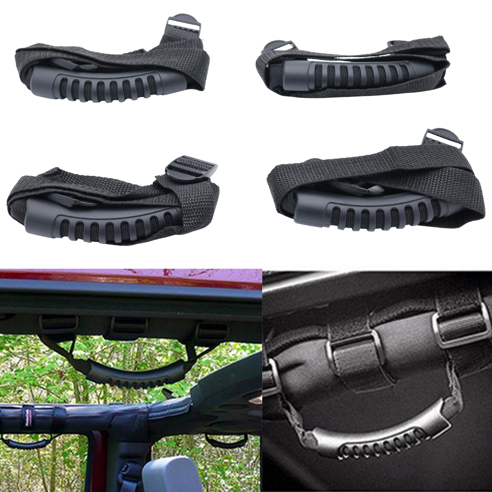 Jeep Wrangler JK TJ YJ Deluxe Extreme Black 8pcs Roll Bar+Rear Side Grab Handle