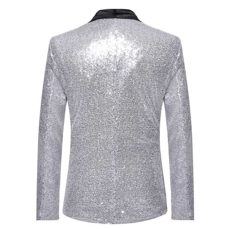 ... Mens Shiny Sliver Sequin Jacket Blazer Men One Button Shawl Collar Suit  Blazer Male Nightclub Prom ... 24ced7450ce2