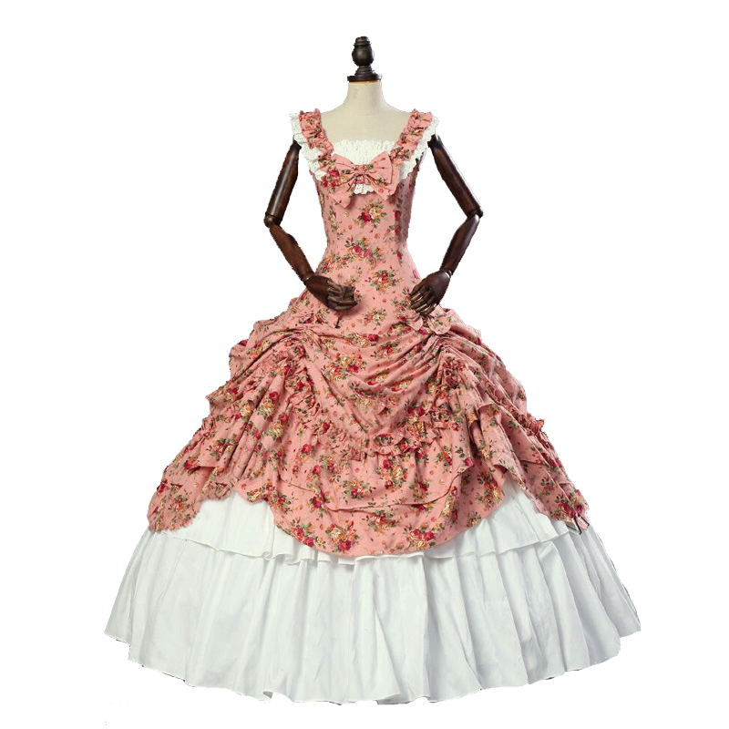 18th Century Retro Gothic Victorian Party Dresses Summer Floral Pattern Square Collar Sleeveless Southern Belle Ball Gowns