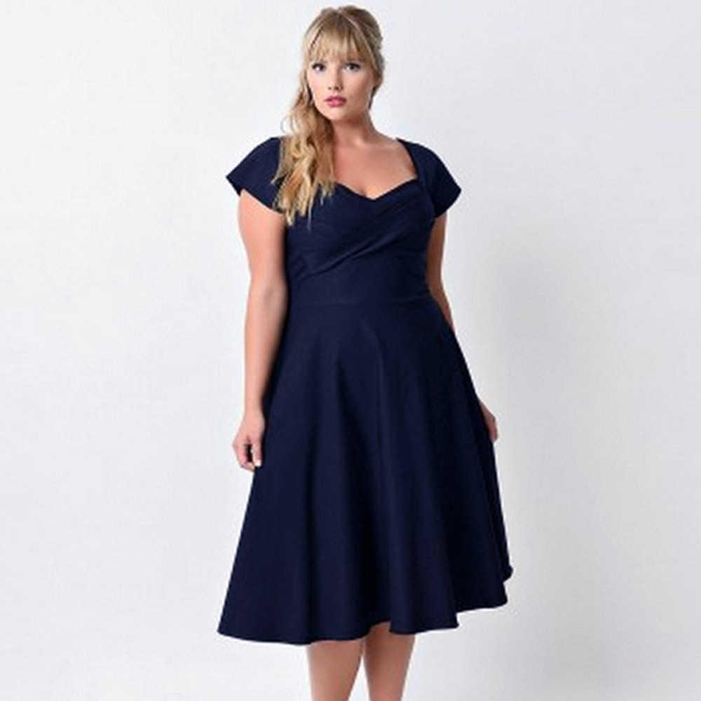 a025a1c7e4b JAYCOSIN Solid V Neck Formal Dresses Big Sizes Evening Party Swing Dress  Plus Size Women Clothing Orange,Navy 9.4