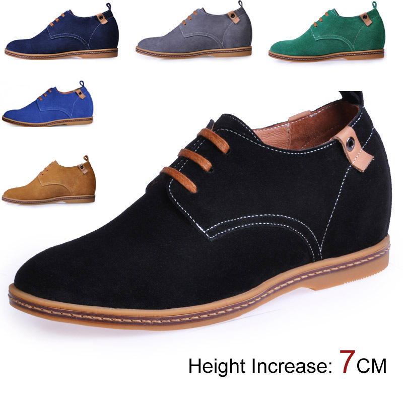 Men Colorful Suede Leather Shoes in Height Increased Insole Make Boys Grow Taller 6CM Black/Yellow/Gray/Dark Blue/Blue/Green