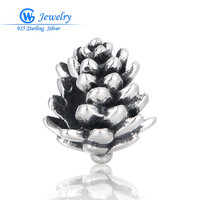 New Year Christmas Pinecone Charms Pendants For Diy Jewelry Making 925 Sterling Silver Jewelry GW Fine