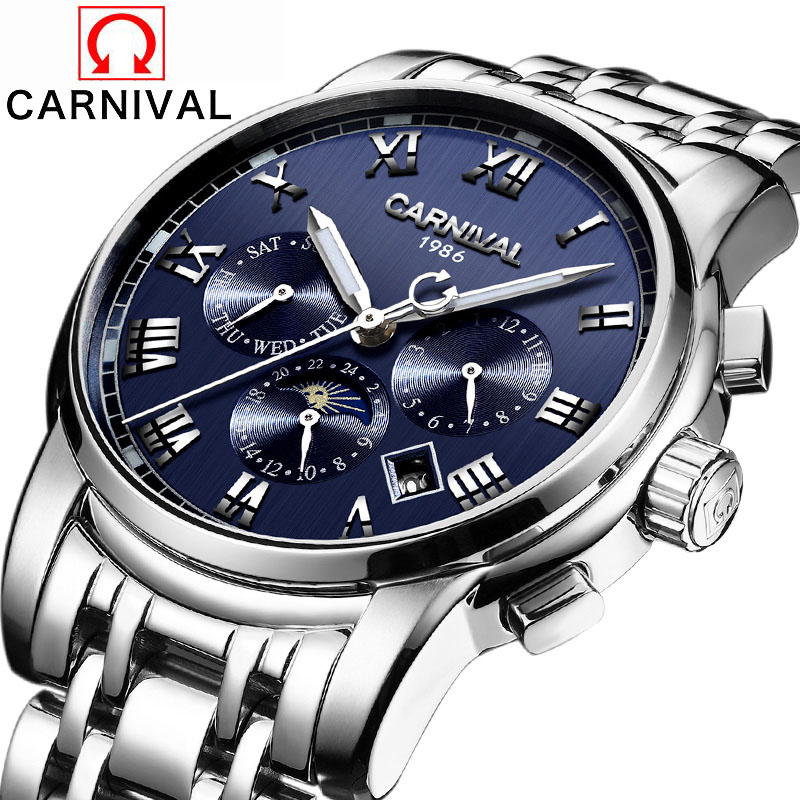 Carnival Brand 6 Hands Mechanical Watches Full Steel Luminous Multifunction Waterproof Wristwatch Luxury Men's Sapphire Watch
