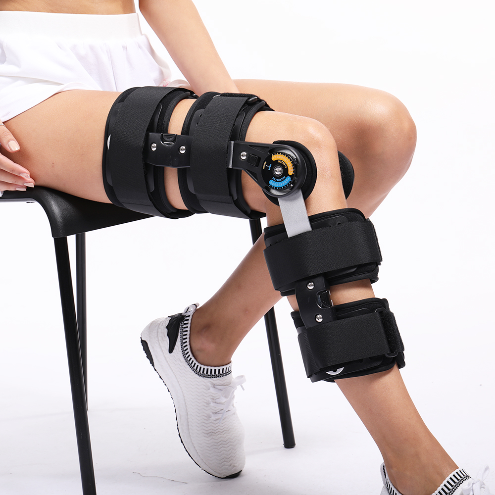 Hinged Knee Patella Brace Support Stabilizer Pad Belt Strap Orthosis Splint Wrap Compression Sleeve Immobilizer ROM Knee Brace цена