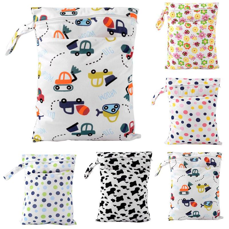Waterproof Double Layers Washable Reusable Cloth Nappy Dry Wet Diaper Bag For Stroller Pocket Cloth Handle Wetbags