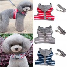 Small Dog Harness Vest Stripe Hood Cat Pet Leash Breast For  Puppy Clothes Jacket XS S M