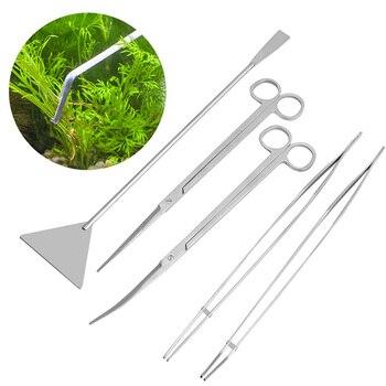 3/5 יחידות כלים אקווריום תחזוקה מספריים פינצטה ערכת לצמחים חיים דשא