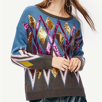 2019 Luxury Brand Autumn Winter Sweaters Pullovers Knitted Women Runway Argyle Striped Color Bead Jumper Ladies Clothes