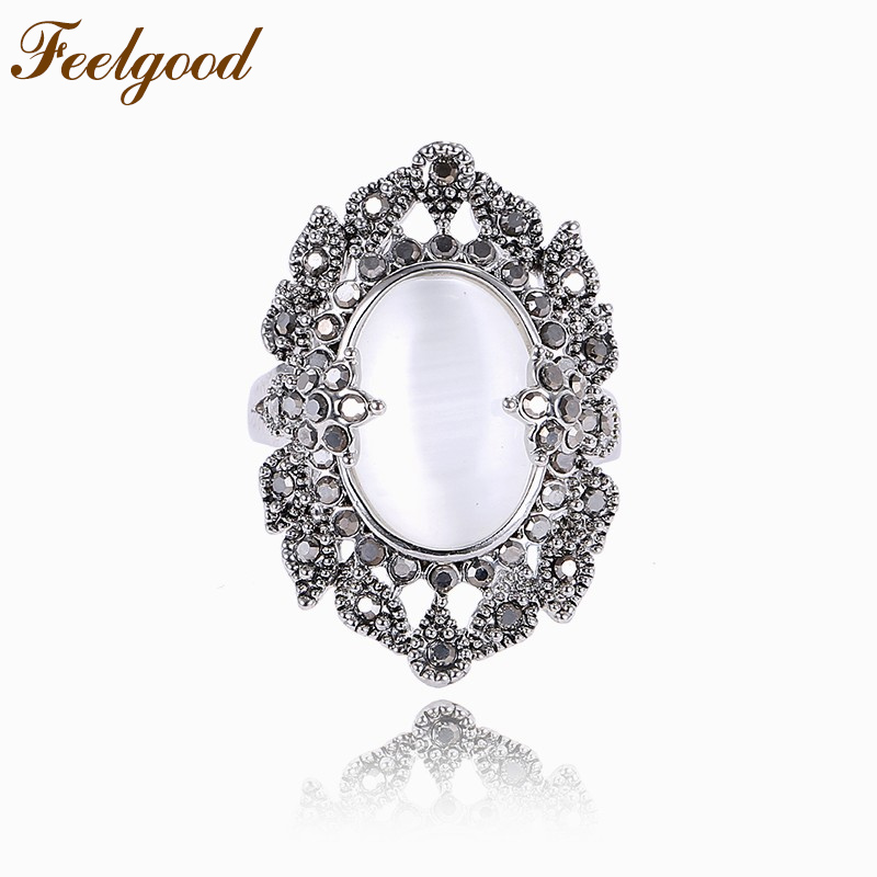 Feelgood Fashion Vintage Opal Ring Antique Silver Plated Alloy Jewelry Retro Black Crystal Rings For Women