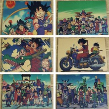 Cartel de película Retro vintage póster de dragon ball anime Poster pared arte sala de estar Kraft pegatinas de papel para pared carteles e impresiones