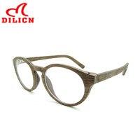 DILICN 알루미늄 나무 광학 안경 프레임 여성 남성 패션 학교 스타일 학생 근시 안경 프레임 라운드 안경