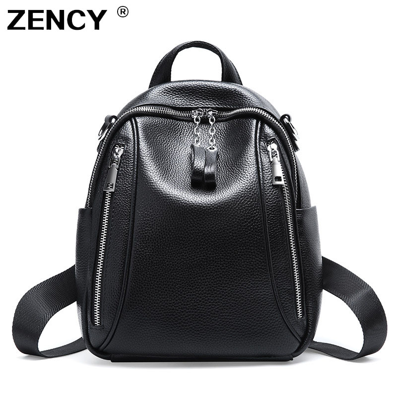 ZENCY NEW Genuine Leather Women's Backpacks Silver Color Hardware First Layer Cow Leather Female School Backpack Cowhide Bags