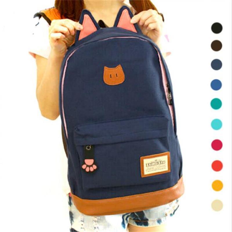 G>D 2016 Hot Sales Campus Girl Backpack Women Travel Bag Young Men Canvas Backpack Brand fashion school Bag Catears Bag mochila
