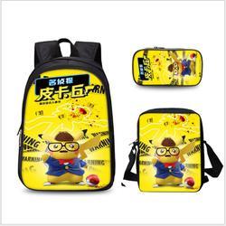Anime Pokemon 3 sztuk zestaw plecak szkolny dla dzieci torby szkolne Pikachu druk piórnik dla dzieci Mochilas plecak szkolny 5