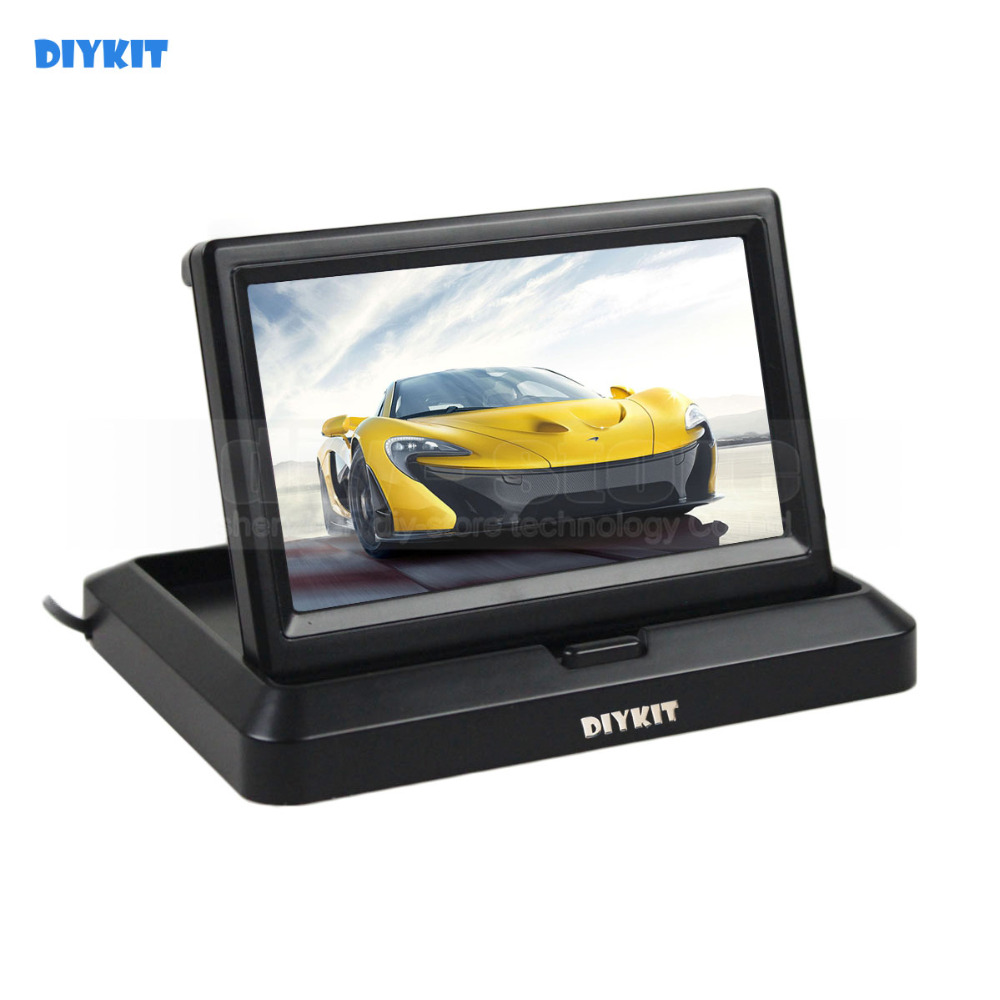 DIYKIT 5 inch Foldable TFT LCD Monitor Car Reverse Rear View Car Monitor for Camera DVD