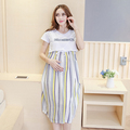 Summer Cotton Maternity Clothing Elegant Comfortable Nursing Dresses Nursing Clothing Dress Loose Pregnant Feeding Dress B102