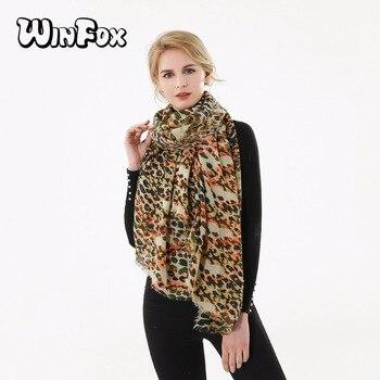 874987e60a3fb Winfox 2018 Новый Модный зимний Многоцветный Оранжевый Желтый леопардовый  шарф эхаппе платок, шаль для женщин