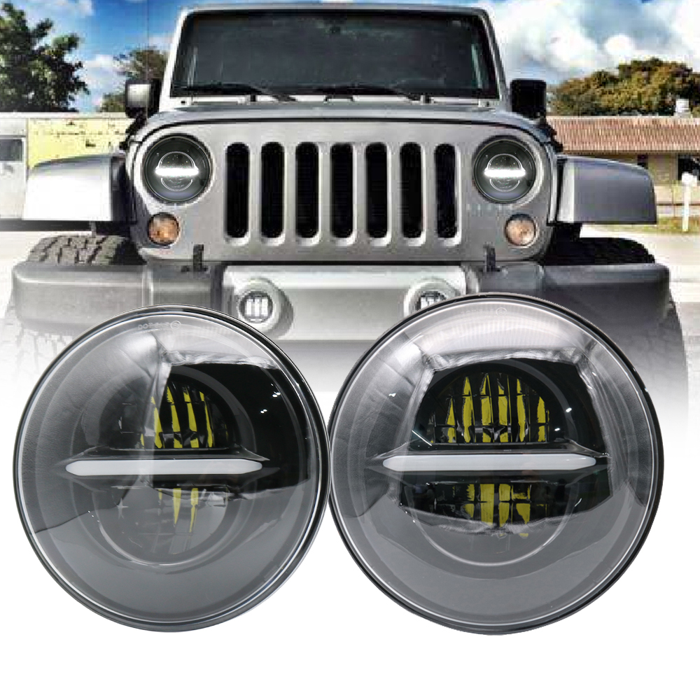 купить 2X 7inch 50W Round High Low Beam white DRL Amber Turn signal For Jeep Puch Kenworth Lada 4x4 urban Niva Nissan Suzuki Samurai онлайн