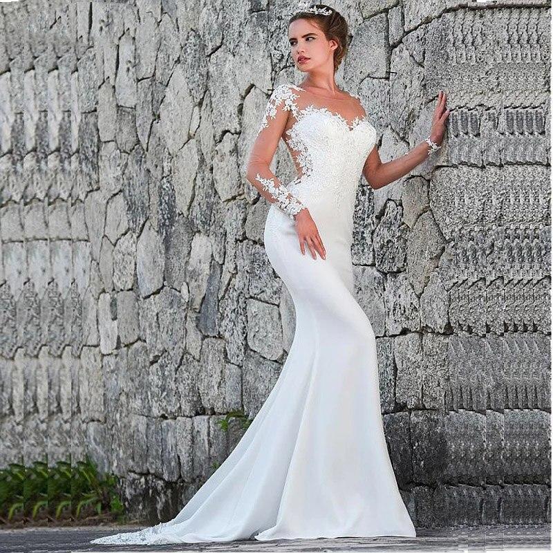2019 robes de mariée sirène turquie Appliques dentelle sur mesure robe de mariée de mariage à manches longues robe vestidos de noiva