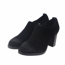 2018 High Heel Shoes Women Boots Vintage Handmade Natural Suede Thick Heels Ankle Boots