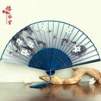 Japanese Folding Fan Chinese Characteristic Silk Fan Cherry Blossom and Wind Craft Ancient Folding Small Portable Fan FAN-4