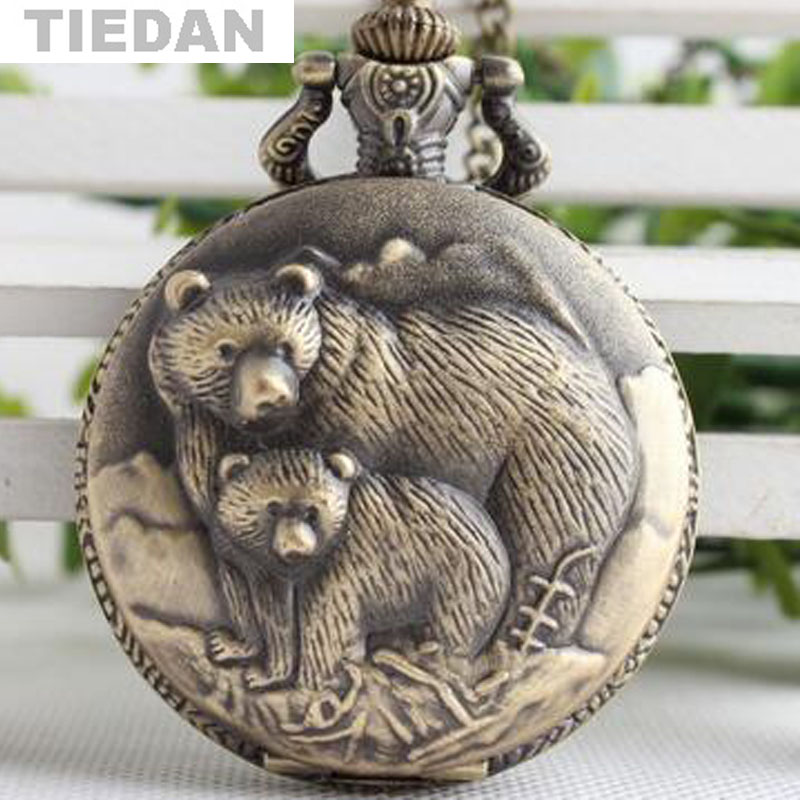 Cute Polar Bear Design Vintage Retro Pocket Watch with Necklace Chain - Kišeninis laikrodis