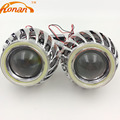 2.5 inch Двойной COB LED angel eyes Bi Xenon объектив Проектора Фары с Спирали Обложка H4 H7 Автомобилей DRL Ходовые огни стайлинга автомобилей