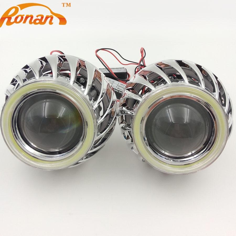 цена на RONAN 2.5''Bi Xenon Projector lens Double DRL COB angel eyes Spirals masks for H4 H7 Headlights car styling