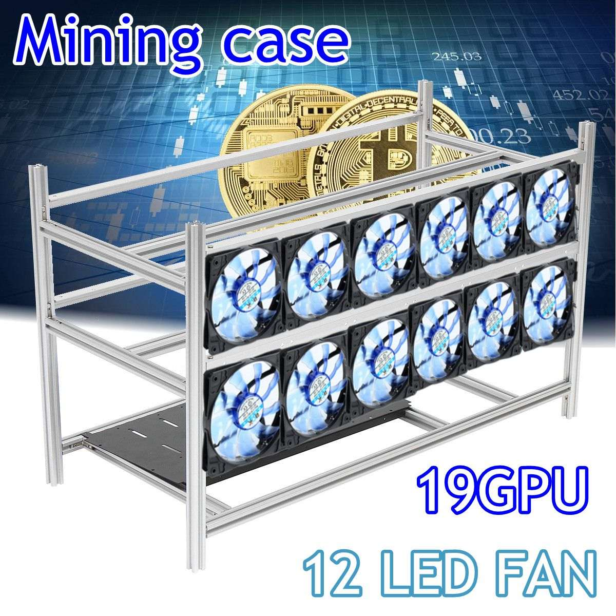 Stackable Open Air Mining Rig Frame Miner Case For 19 GPU ETC BTH 3 Power Supply New Computer Mining Case Frame Server Chassis new 4u industrial computer case parkson 4u server computer case huntkey baisheng s400 4u standard computer case
