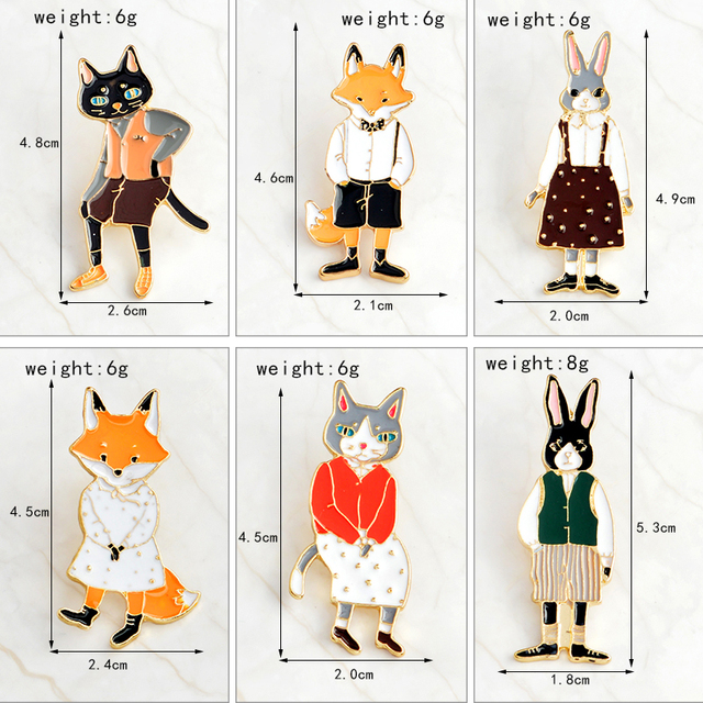 QIHE JEWELRY Pins and brooches Rabbit/Fox/Cat couple enamel pin Badges Hat Backpack Accessories Lovers jewelry Gift for lover 1