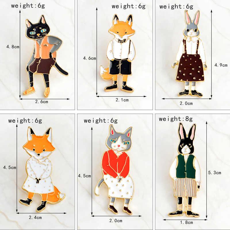 QIHE PERHIASAN pin dan bros Kelinci/Fox/Kucing pasangan enamel pin Lencana Topi Aksesoris Ransel Pecinta perhiasan Hadiah untuk kekasih