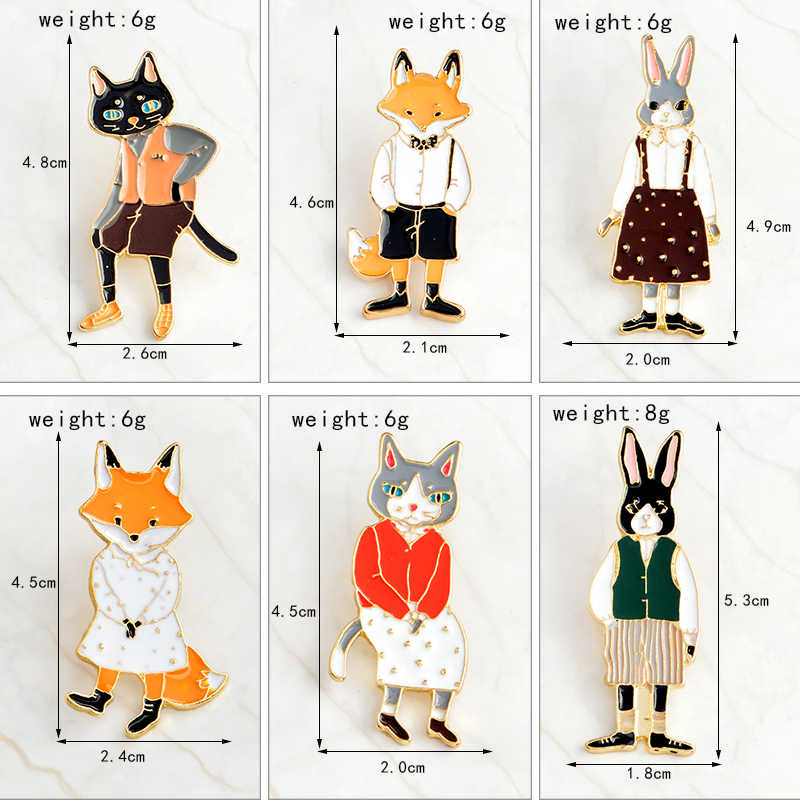 QIHE takı pimleri ve broşlar tavşan/tilki/kedi çift emaye pin rozetleri şapka sırt çantası aksesuarları severler takı hediye sevgilisi için