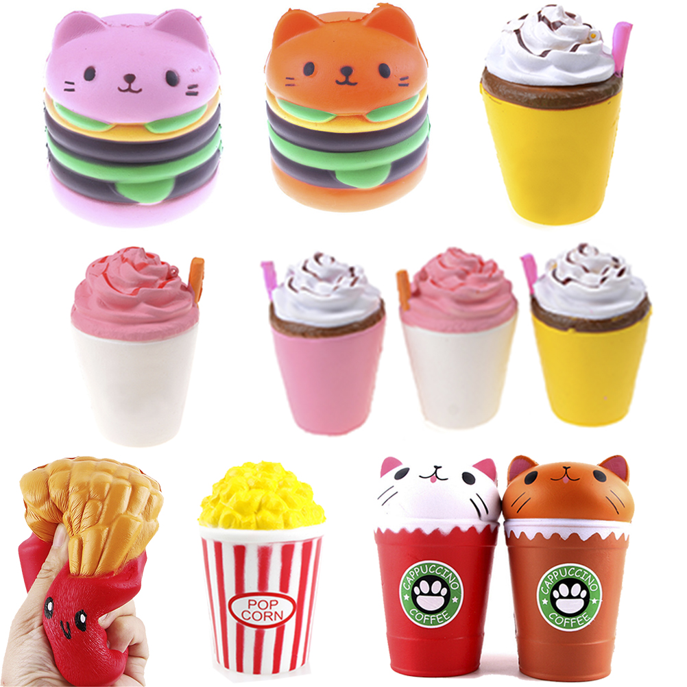 1PCS Slow Rising Antistrss Toy Jumbo Squishy Toys Children Stress Relief Toy Cat Hamburger Fries Squishies Funny Kids Gift Toys