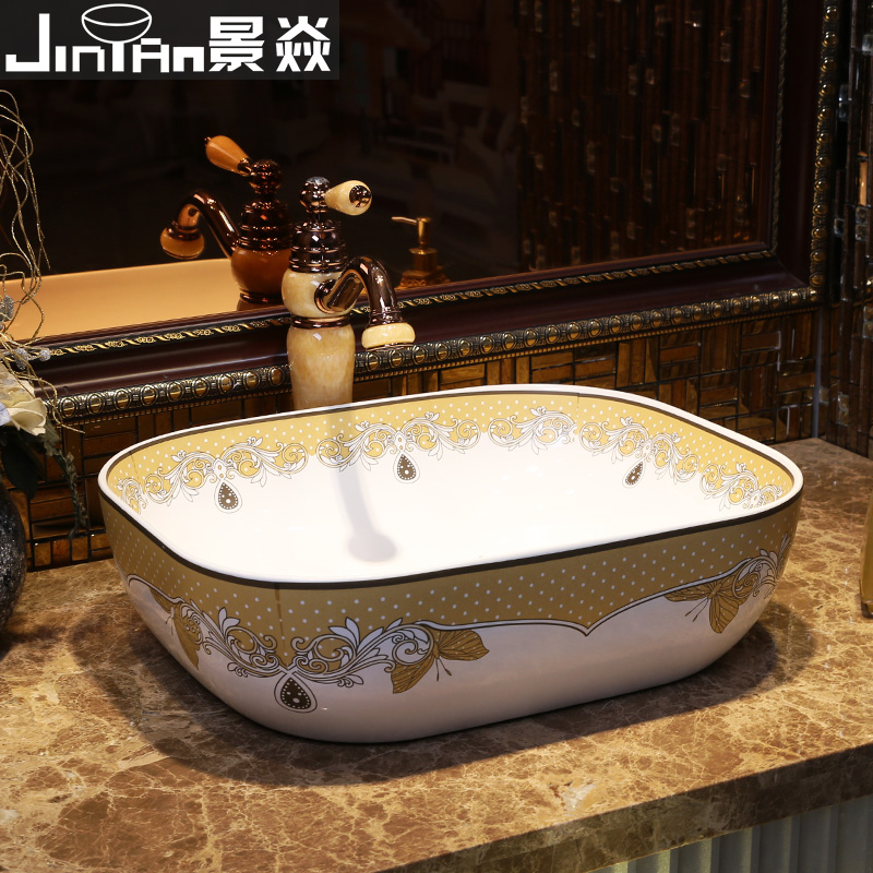 Jing Yan Decoration Main Material On The Stage Of The Basin Rounded Large Bathroom Vanity Countertop Ceramic European Fashion Ki