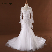 HIRE LNYER Long Sleeve Open Back Mermaid Wedding Dress