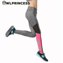 Owlprincess Rosa Remiendo de la Impresión Carta Mujeres Deportes Correr Gym Yoga Pant Medias Legging Nuevos Pantalones Elásticos pantalones de Baile de Fitness