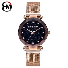 Women Watches 2019 Luxury Starry Sky Magnetic Stainless Steel Wrist For Shiny Prism Surface Rose Gold Ladies Watch