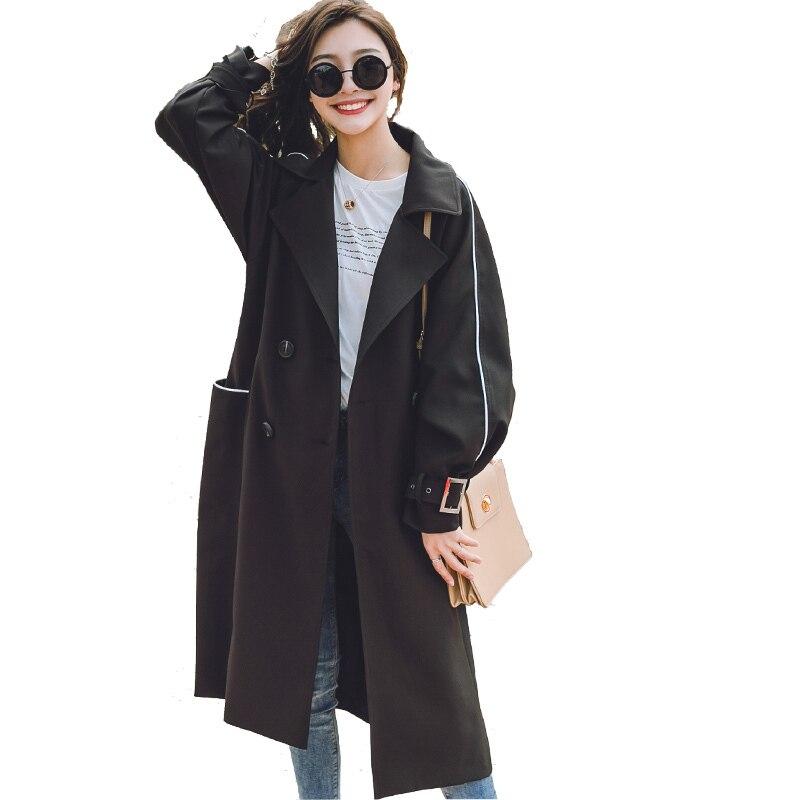 Yz812 Manches Femme Double black Extérieur 2018 Blue Manteaux Solides Coupe Longue Boutonnage Femmes Longues À Ressort pink vent Casual Travail Pour Hiver Trench xxqwzH